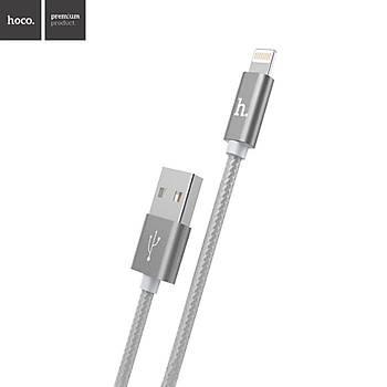 Hoco X2 İp Örgü Alüminyum iPhone Lightning Hızlı Şarj Kablosu