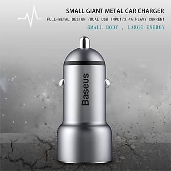 Baseus Little Giant Serisi Metal Araç Þarjý Gri