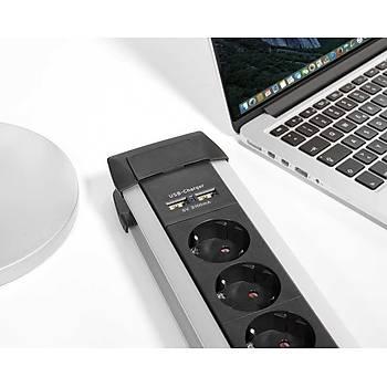 Brennenstuhl Premium-Alu-Line, 6 Soketli-2 USB li 3M. Uzat.Priz