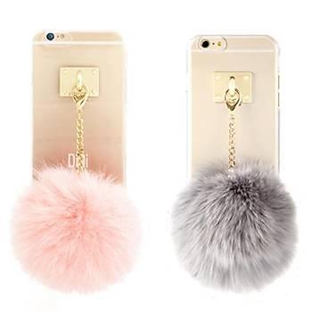 Ddpop Style Fake Fox Grey iPhone 7/8 Pembe Ponponlu Silikon Kýlýf