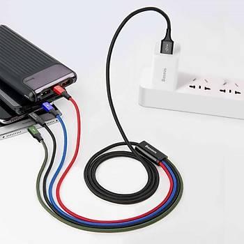 Baseus 3.5A Lightning Micro Usb 2X Type C Hýzlý Þarj Kablosu 1.2M