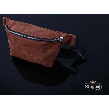KingBad Süet Omuz ve Bel Çantasý (Kahve)