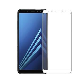 AntDesign 5D Tüm Yüzey Galaxy A8 2018 Cam Ekran Koruyucu Beyaz