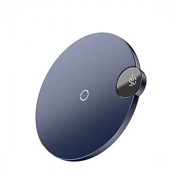 Baseus Digital Led Ekran Kablosuz Wireless Hýzlý Þarj Cihazý Mavi