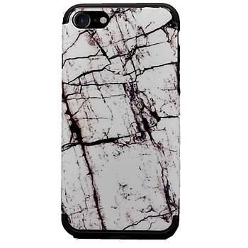 AntDesign iPhone 7 / iPhone 8 Mermer Desen Kýlýf Beyaz