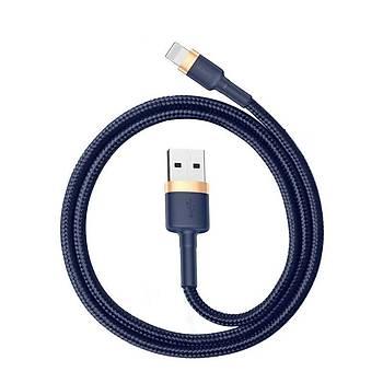 Baseus Cafule Lightning Örgülü 0.50 CM 2,4A Kevlar Þarj Kablosu Blue
