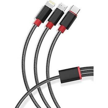 Xipin 3 In 1 USB Kablo - Type-C - Lightning ( Apple ) - Micro 1m
