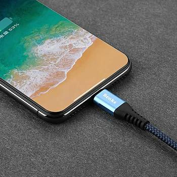 Benks D26 Apple Ýphone Þarj ve Data Kablosu 1.2M 3 A. Mavi