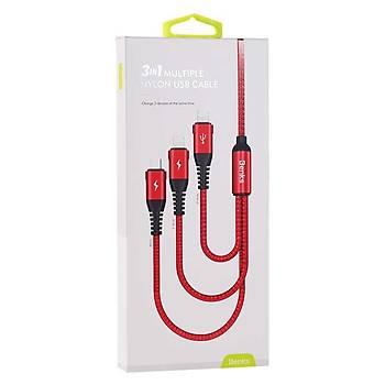 Benks D25 3in1 2 Lightning+Micro USB Þarj ve Data Kablosu 3A. Krýmýzý