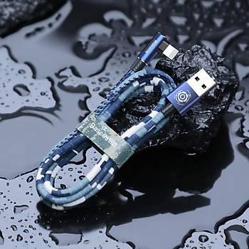 Baseus Camouflage Ýphone Oyun-Data ve Þarj Kablosu 1.5A 2M. Blue