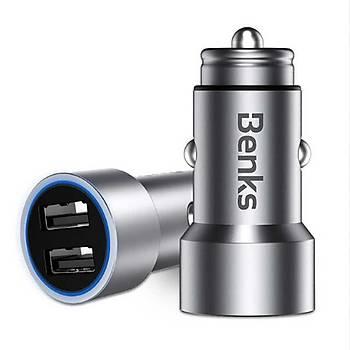 Benks C26 Dual USB Araç Ýçi Þarj Cihazý 3.4A Silver