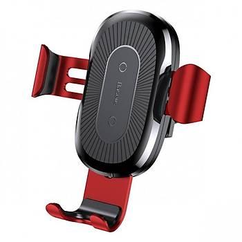Baseus Gravity Wireless Araç Þarj Cihazý Telefon Tutucu Kýrmýzý