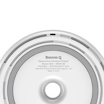 Baseus Donut Qi Serisi Wireless Kablosuz Hýzlý Þarj Cihazý Beyaz