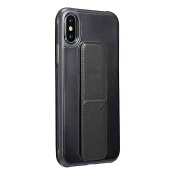 Roar Apple iPhone XS Max 6.5 Aura Standlý Þeffaf Silikon Kýlýf Black