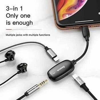 Baseus 3-in-1 iP Male to Dual iP amp; 3.5mm Female Adaptör L51 Siyah