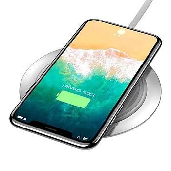 Baseus Metal Wireless 7.5W Hýzlý Þarj Cihazý Beyaz