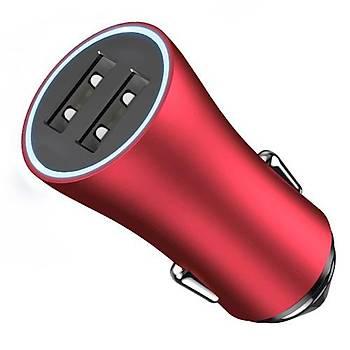 Baseus Contactor 2 USB 2.4A Iþýklý Araç Þarj Cihazý Kýrmýzý