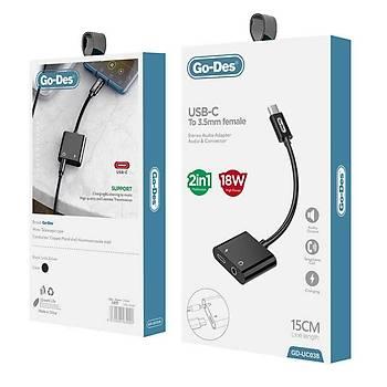 Go-Des GD-UC038 Type-C To 3.5mm Dönüþtürücü ve Çoklayýcý OTG Kablo