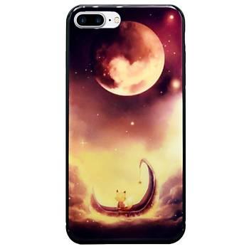AntDesign iPhone 7 Plus / 8 Plus Cam Baský Desenli Kýlýf Red Moon