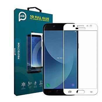 Piili 5D Tüm Yüzey Samsung Galaxy J5 Pro Cam Ekran Koruyucu Beyaz