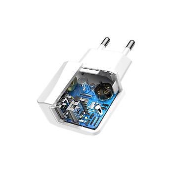 Baseus Mini Dual-U Duvar Þarj Cihazý 2 USB Çýkýþlý 2.1A