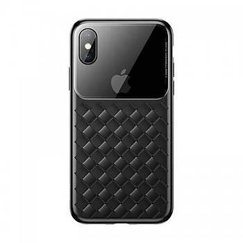 Baseus Glass Weaving iPhone XS 5.8/X Hasýr Desen Cam Tasarm Kýlýf