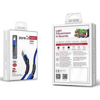Zore LS64 Micro USB Hýzlý Þarj ve Data Kab. 2 M. 2.4A Siyah