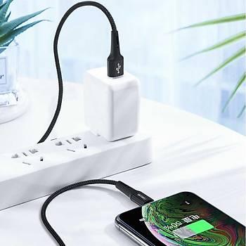 Wiwu Gear 2.4A. Lightning Þarj Ve Data Kablosu 1.2 Metre Siyah