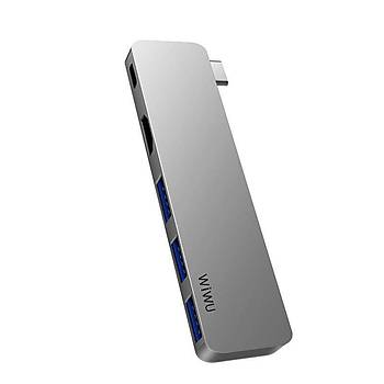 Wiwu T6 Pro Type-C 3 USB Çýkýþlý Çoklayýcý ve Çevirici HUB Gri