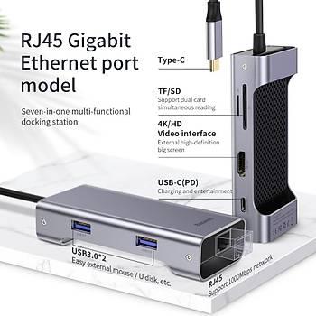 Baseus Square Serisi Masa Tipi-C Çok Fonksiyonlu VGA HUB RJ45 Gri