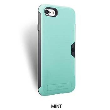 Roar Awesome Serisi Apple iPhone 7-8 Standlý+Kartlýklý Kýlýf Mint Yeþili
