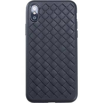 Benks Apple iPhone Xs Kýlýf Weavelt Tpu Hasýr Silikon Siyah