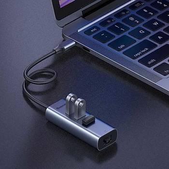 Baseus Enjoy Serisi Type C 3 Ad. USB 3.0 + RJ45 Çýkýþlý HUB