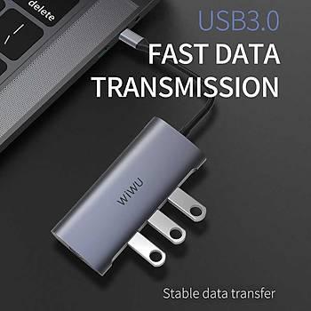 Wiwu Alpha 831HRT Type-C Griþli USB'li Dönüþtürüc Hub Gri