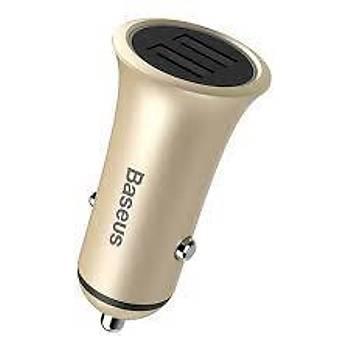 Baseus Trumpet Serisi 3,1A Çift Usb Giriþli Metal Araç Þarjý Gold
