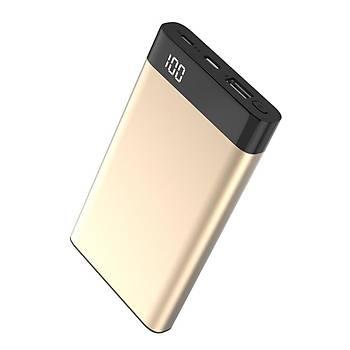 Xipin T13 Dijital Göstergeli 10000 Mah Powerbank Gold