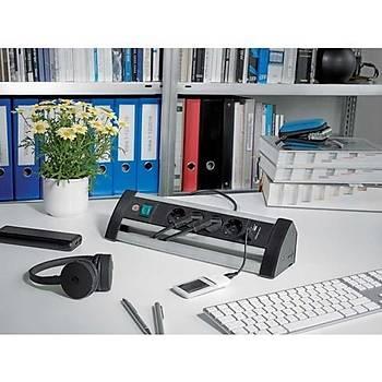 Brennenstuhl 2 USB Alu Office Line 4 lü Uzatma Priz Siyah Gümüþ