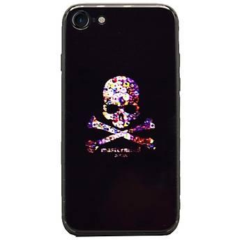 AntDesign iPhone 7 / iPhone 8 Cam Baský Desenli Kýlýf Skull
