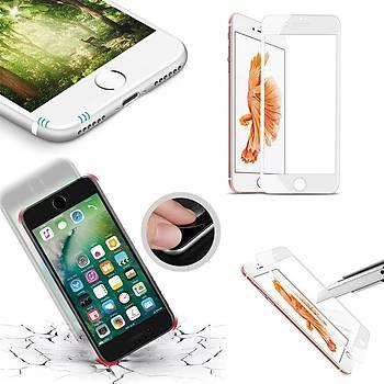 Piili 6D Eðimli Kenar Ön iPhone 7 Plus Cam Ekran Koruyucu Beyaz