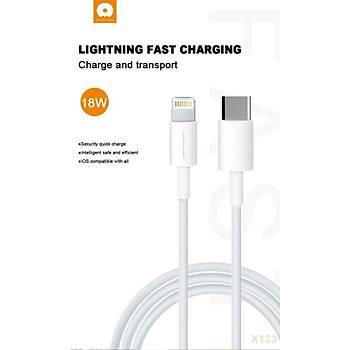 Wuw Type-C-Lightning Giriþli 18W Tablet Hýzlý Þarj ve Data Kablosu