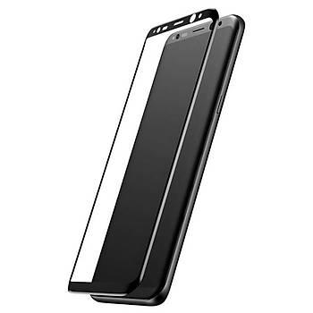 Baseus Galaxy S8 Plus 0,3mm 3D Kavisli Cam Ekran Koruyucu Siyah