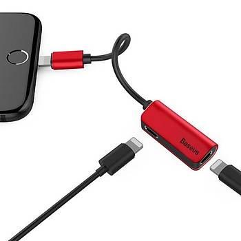 Baseus L37 3in1 iPhone Lightning Þarj Ve Ses Kablosu Kýrmýzý