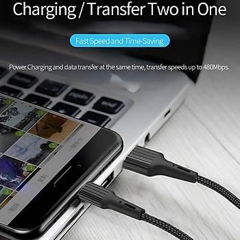 Wiwu Gear 2.4A. Micro USB Þarj Ve Data Kablosu 1.2 Metre Siyah