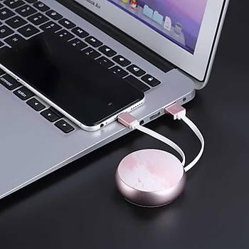 Benks D28 Retractable Serisi Ýphone Makaralý Þarj ve Data Kablosu Rose Gold
