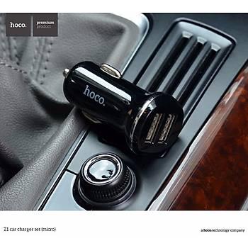 Hoco Z1 Micro Usb 2.1A 2 USB Araç Şarjı Siyah HCZ-MC-S