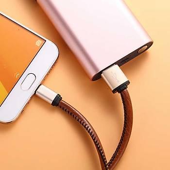 Xipin X1385 Mirco USB Þarj ve Data Kablosu Deri 1M. 2.1A Gold