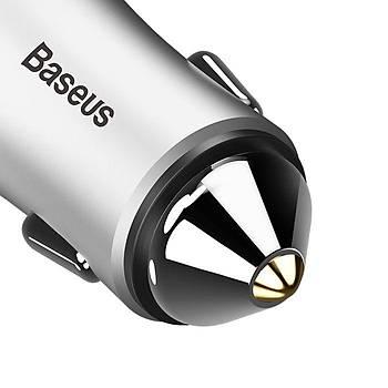 Baseus Contactor 2 USB 2.4A Iþýklý Araç Þarj Cihazý Gümüþ