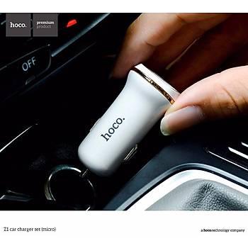 Hoco Z1 iPhone Lightning 2.1A 2 USB Araç Þarjý Beyaz HCZ-IP-B