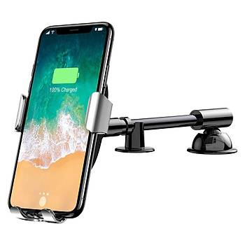 Baseus Heukji Gravity 10W Wireless Araç Þarjý ve Tutucu Gümüþ