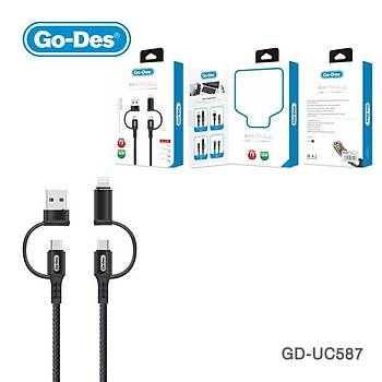 Go-Des GD-UC587 4in1 Type-C-Lightning To PD-Usb Þarj ve Data Kablosu